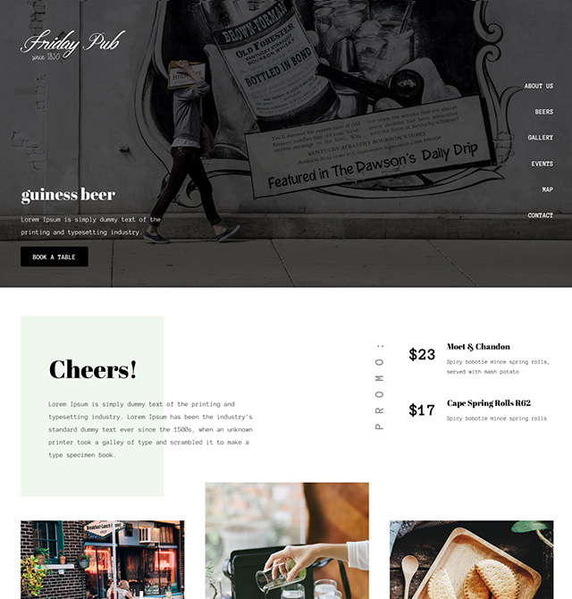 Beautiful Restaurant Website Templates